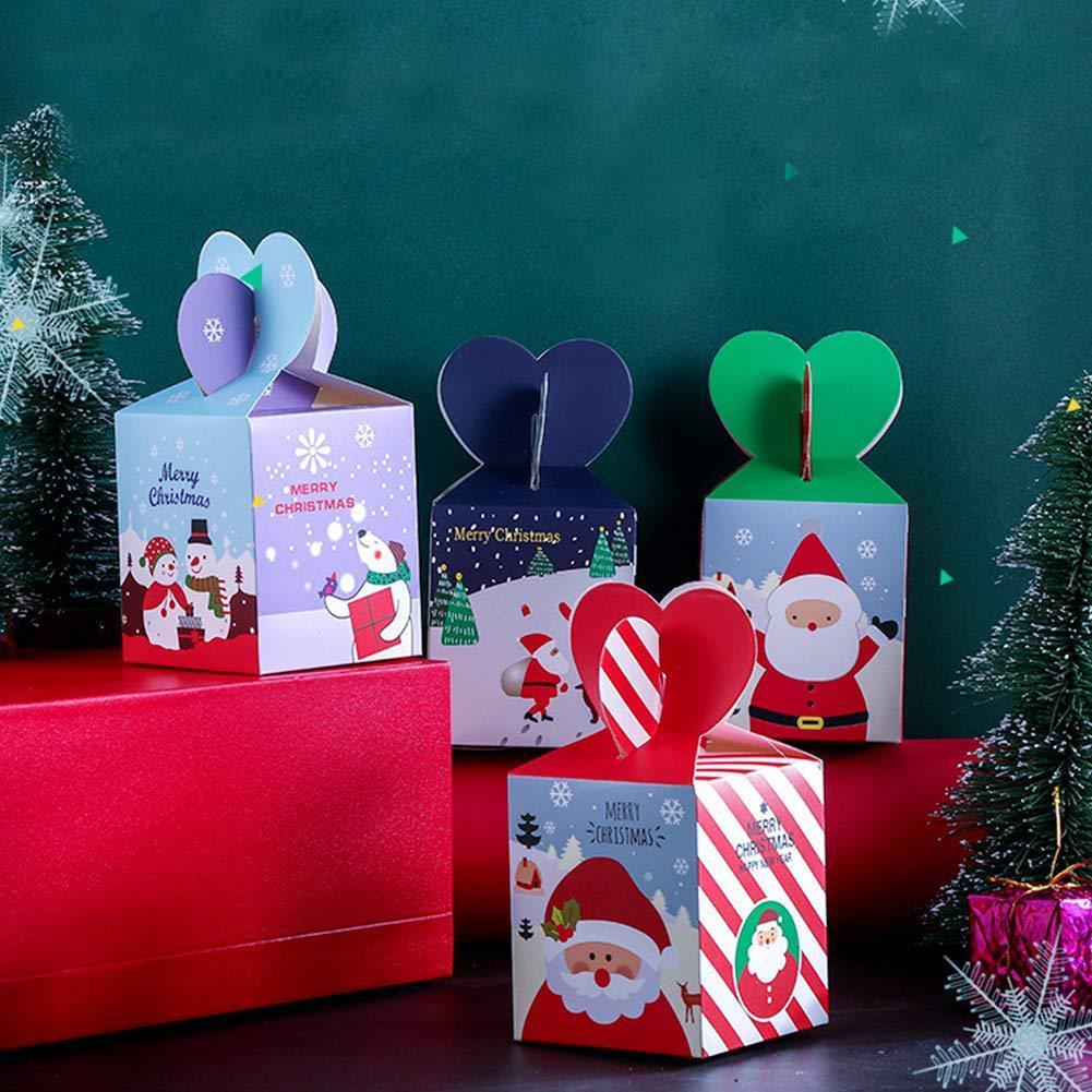 Natal Caixas de doces linda pequenas caixas de presente bonito para Candy bolinhos bolo com tampas das árvores de Natal Presentes Decor Box Embalagens