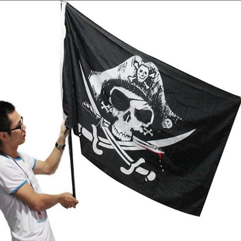Eco-Friendly 3x5FT traversa del cranio Crossbones Sabres Swords Jolly Roger Pirate Flags con occhielli partito della decorazione Decorazioni di Halloween