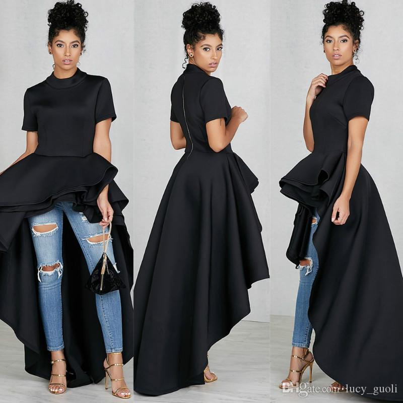 2018 Summer Sexy Asymmetrical Bodycon Club Women Elegant Party Dresses Runway High Low Peplum Top Ruffle Dress Casual Streetwear Vestidos