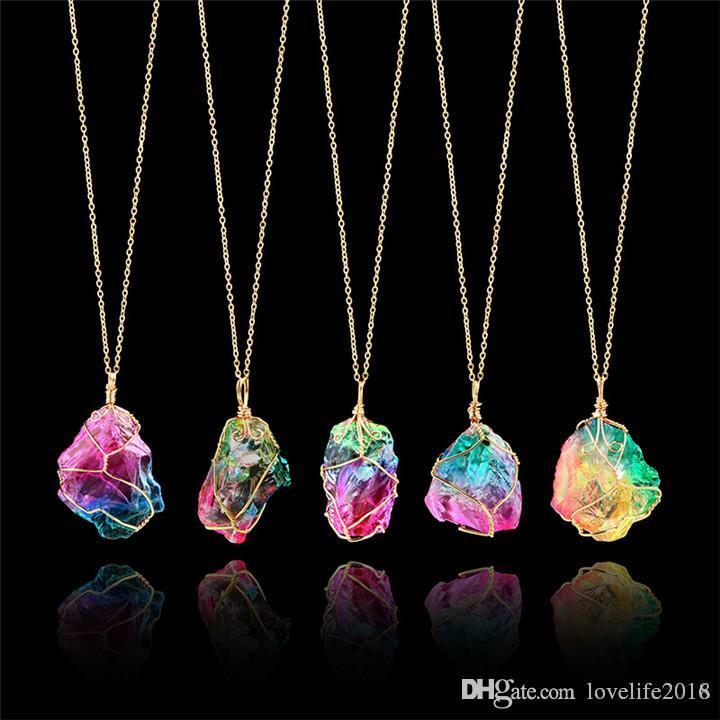 NUOVA collana di pietra naturale irregolare arcobaleno colore turchese collana collane ciondolo fetta d'oro placcato oro catena di gioielleria moda A127