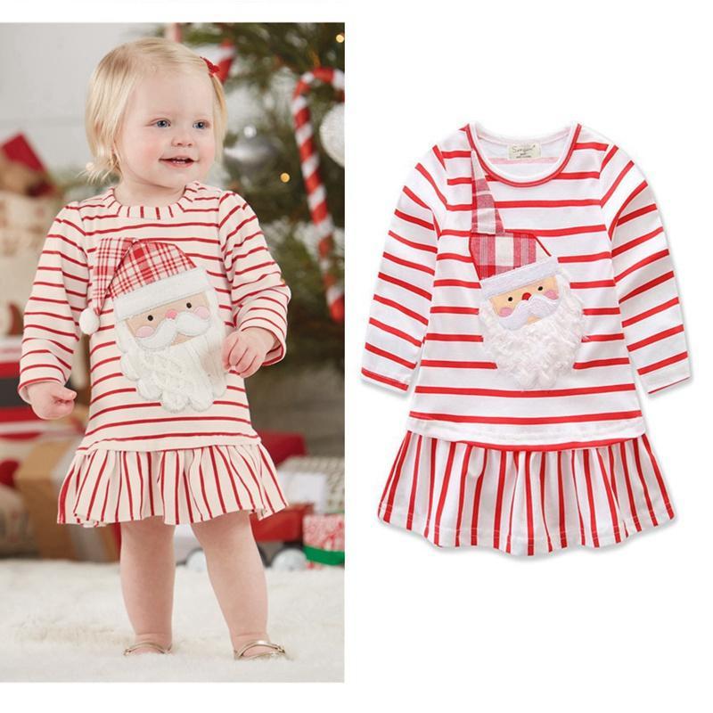 طفل الفتيات عيد الميلاد اللباس جميل الكرتون مخطط عيد الميلاد الأب الأحمر كم طويل فستان مصمم ملابس الأميرة فساتين HHA610