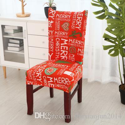 Spandex Cadeira de tampas removíveis Cadeira Coberta estiramento Seat Covers Jantar Elastic Slipcover Natal Decor Wedding Banquet