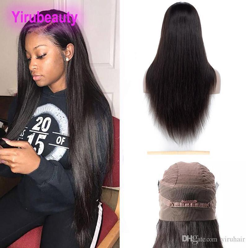 Malesi non trattati dei capelli umani 360 Frontal del merletto parrucca di colore naturale serico regolabile 8-26inch Banda Frontal del merletto Parrucche