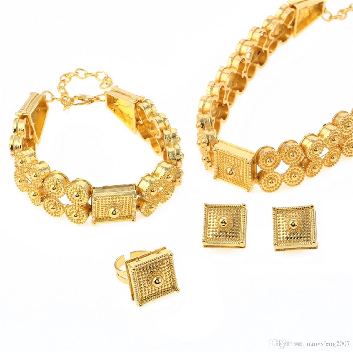 Ethiopian Schmuck Set Gold Farbe Colliers Halskette Armband Ohrringe Ring Für Frauen Eritrea Habesha Afrikanische