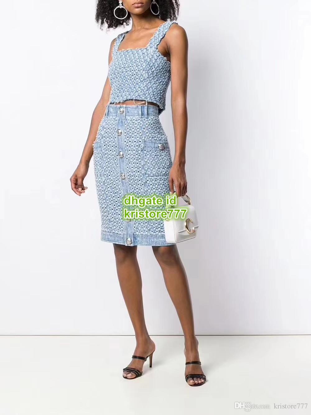 High End Women Vintage Fashion Designer di lusso Strappato gonna di jeans abbottonata Gonna oversize Vita alta Midi A-Line Silm Gonna Denim Dress