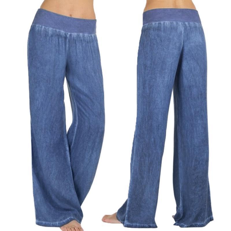 Le donne casuale vita alta elasticità di jeans gamba larga Palazzo pantaloni Jeans allentato femminile elastico in vita Baggy tattico per pantaloni