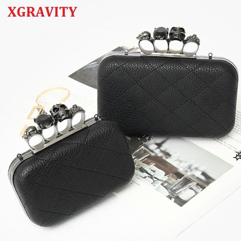 XGRAVITY 2020 yeni moda kafatası parmak çanta zarif zincir çanta KADIN Casual Manşonlar çanta Zarf çanta Bayanlar Hayalet çanta 050