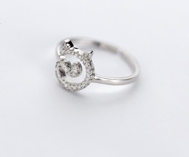Authentique 100% REAL.925 en argent sterling Fine Jewelry chaton animaux zircone Chat ouvert Bague GTLJ1427