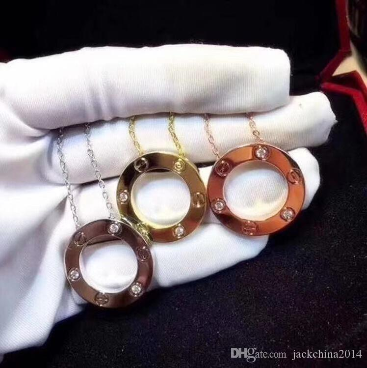 أعلى بيع مصمم مجوهرات الحب خاتم قلادة مطلي 18 كيلو الذهب برغي قلادة مع الذهب ارتفع ملء الفاخرة امرأة هدية حبيب 3 ألوان قلادة