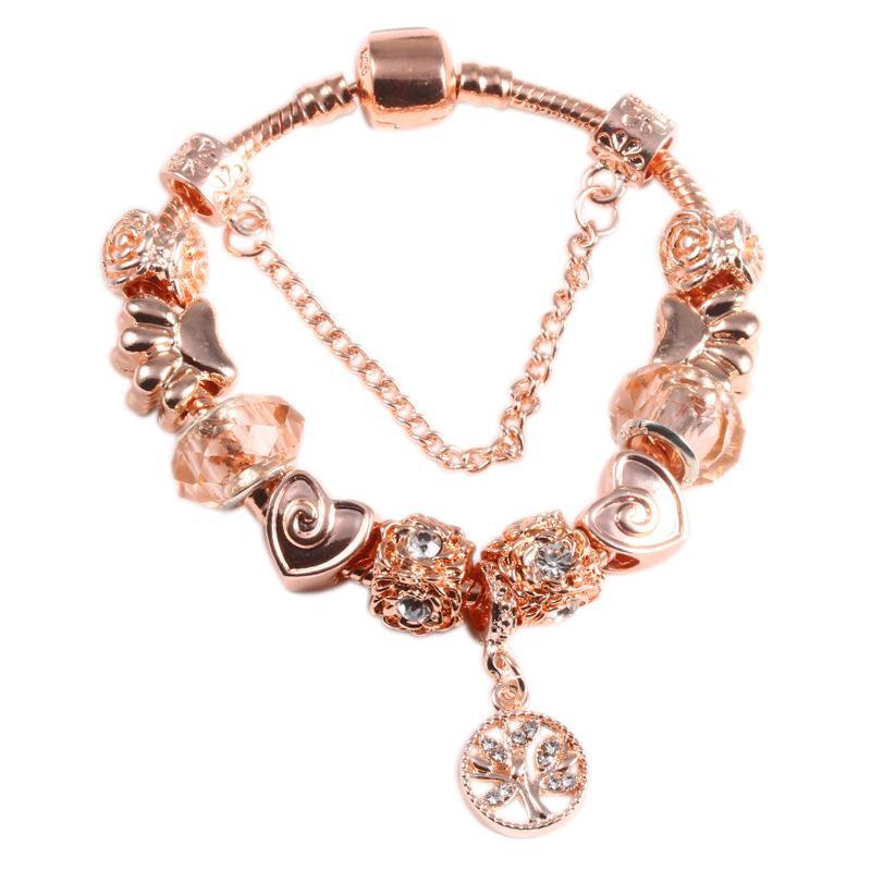 En gros - Bracelet pente paisible d'arbre adapté à la pandora style bricolage rose plaqué bracelet en plaqué bijoux livraison gratuite