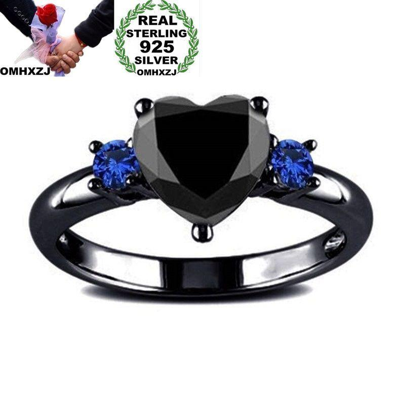 OMHXZJ Wholesale European Fashion Woman Girl Party Wedding Gift Heart Black Blue 925 Sterling Silver Ring RR361