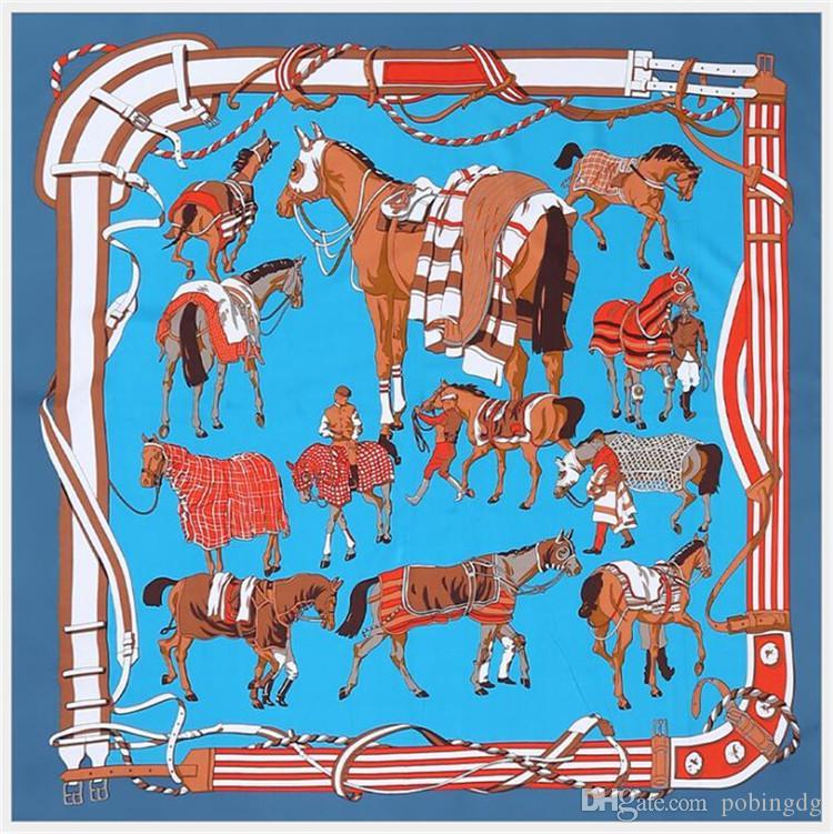 New 100% Silk Scarf Women Large Shawls Spain Palace Horse Print Stoles Square Bandana Kerchief Scarf Female Foulards 130CM