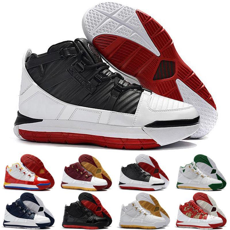 Nuovo arrivo # 23 Zoom III 3 Casa SuperBron di pallacanestro del Mens scarpe di alta qualità Bianco Blu Rosso Nero Lebron 3s Sport Sneakers