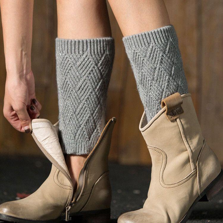 الساق دفئا الخريف المرأة والشتاء محبوك الأحذية الدافئة الساق وضع طماق الماس على شكل الذهب والفضة اليوغا socksT2I5495