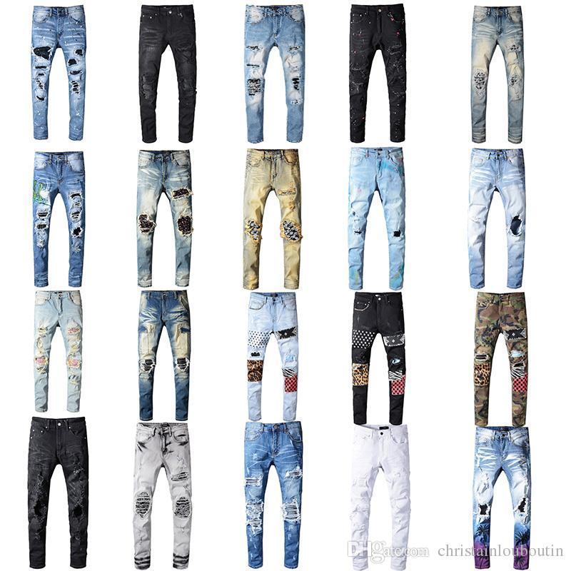 2020 Ropa Pantalones Hombres Mujeres Camisetas impresión de la pantera Ejército destruida verde delgada para hombre del dril de algodón recto del motorista Vaqueros Hombres