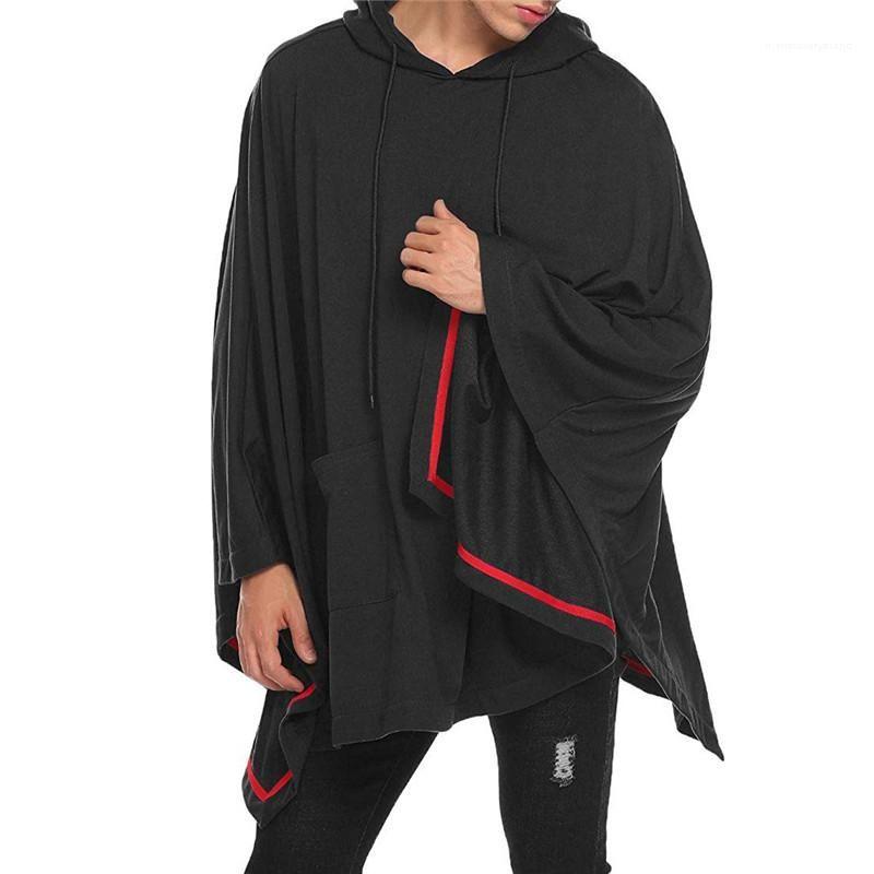 عباءة الأزياء الخفافيش ذو الكم الطويل غطاء الرأس العارضة الرجال قمم مصممة ملابس