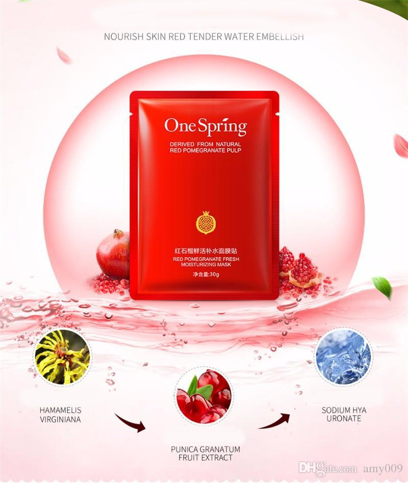 DHL 200pcs OneSpring Red Pomegranate Facial Mask tony moly Moisturising Whitening Mask korean Beauty Masks for Face Sheet Mask Skin Care