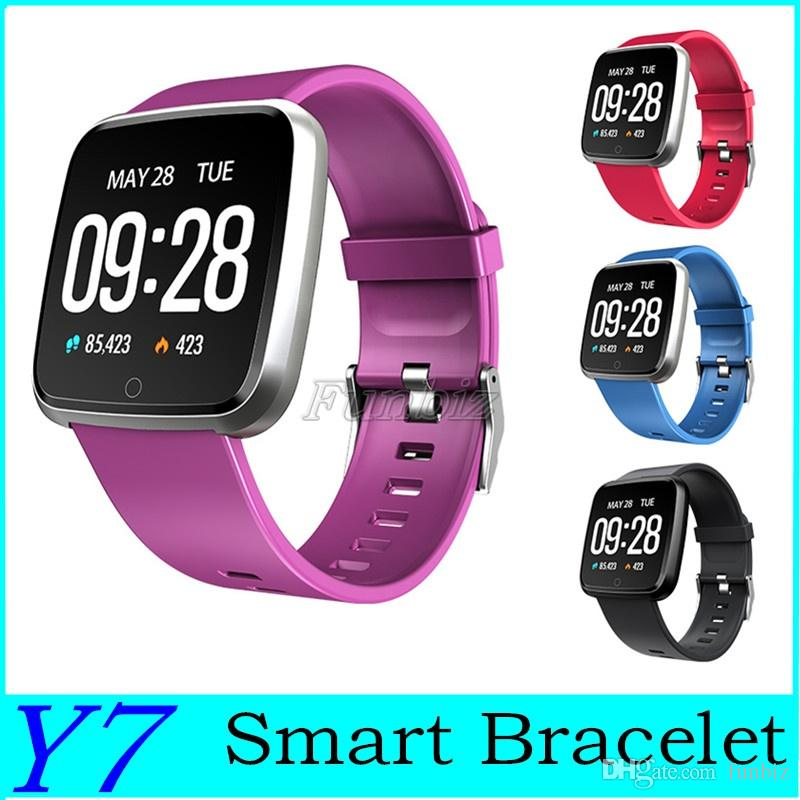 Multi-language Y7 Smart Bracelet Activity Tracker Big Screen Step Heart Rate Monitor Smart Reminder Information Push Smart Watch Wristband