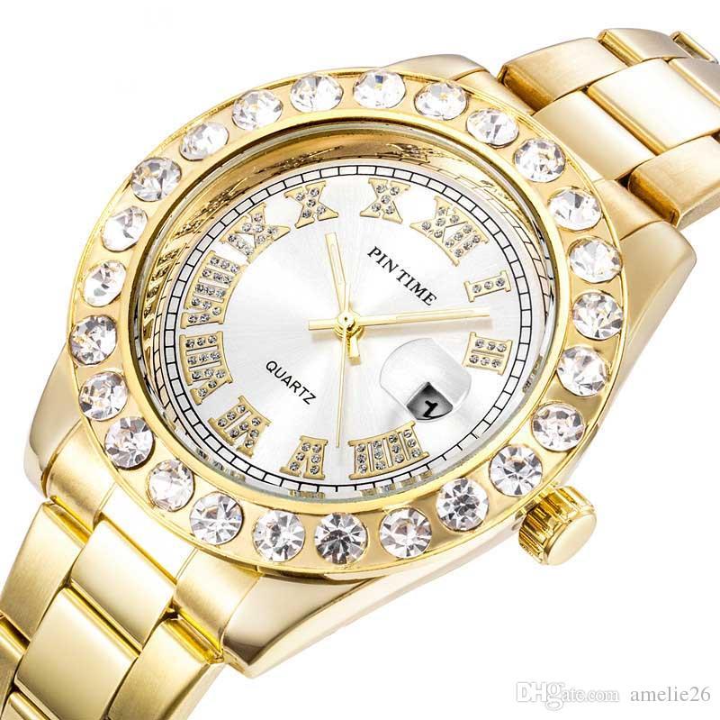Men Watch Sliver Gold Mens Watches Diamond Steel Bracelet Quartz Wristwatch Dress Business Date Watch Man Gift Clock