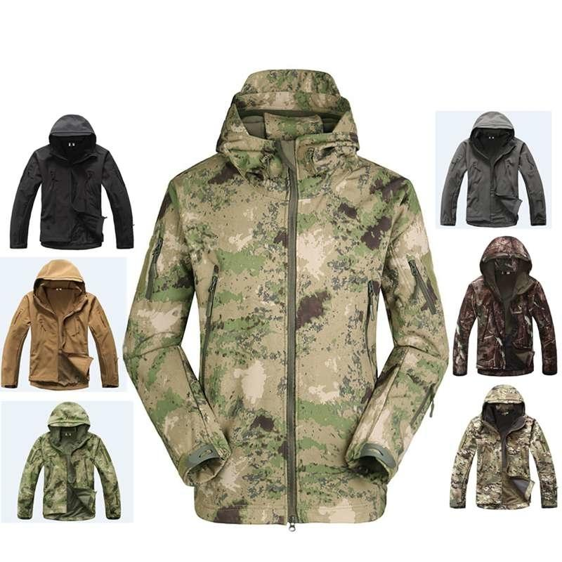 2019 Hunting Clothes Outdoor Shark Skin Softshell Tactical Millitary Camouflage Jacket Suit Men's Waterproof Jacket Or Pants T190919