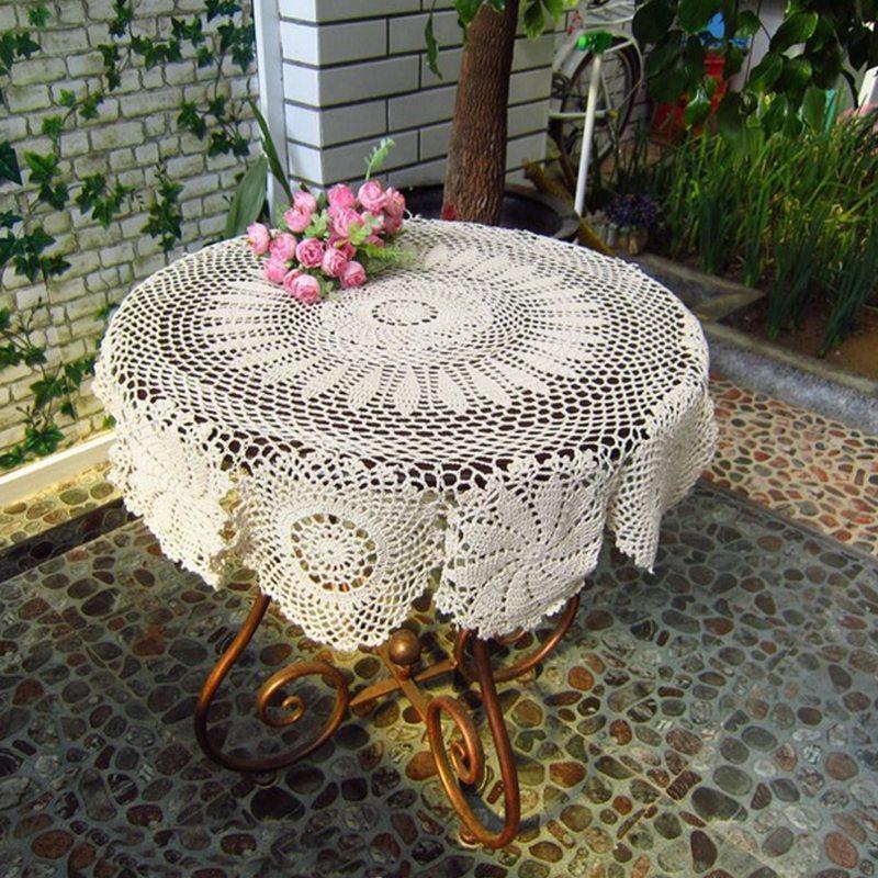 Pañito de la moda Posavasos 27 '' flor redonda Beige algodón Crocheted mano del cordón de la decoración de la tabla Mantel