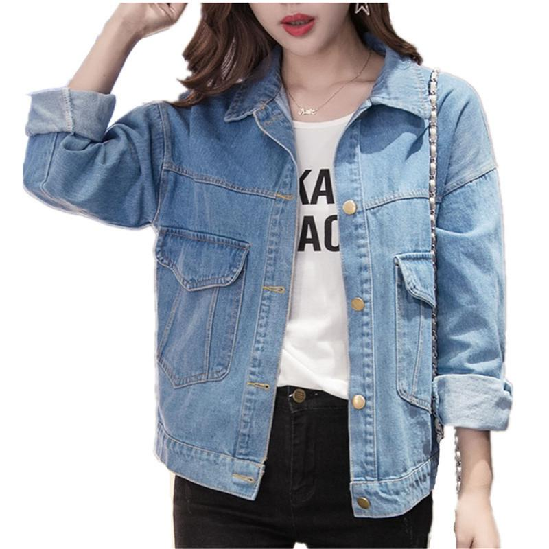 Women Jackets Spring Autumn Turn Down Collar Denim Coat Washed Jeans Jacket Women Plus Size Casual Jacket Women Coats And Jacket T200407