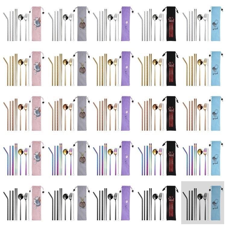 8pcs / set Çatal Seti 304 Paslanmaz Çelik Bıçak Takımı Chopsticks Çatal Kaşık Straw Taşınabilir Sofra 5style T2I5725-1 ayarlar