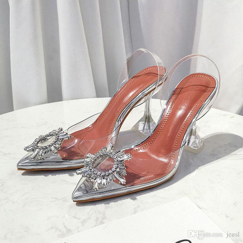 Scarpe Sposa 7 Cm.Acquista Scarpe Con Tacco Alto Di Cristallo Trasparente Firmate
