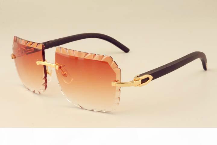 2019 nouvelle usine directe de luxe lunettes de soleil de mode A-3524013 Naturel Noir Lunettes de soleil en bois Unisexe sculpté lentille privé personnalisé sculpté nom