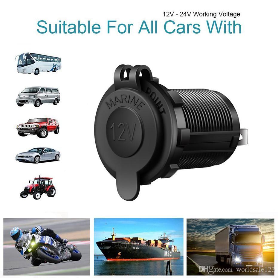 Nouveau Noir Couleur 12V Moto Voiture Bateau Tracteur Accessoires Cigarette Lighter étanche Prise international sortie avec LED Light Car-style