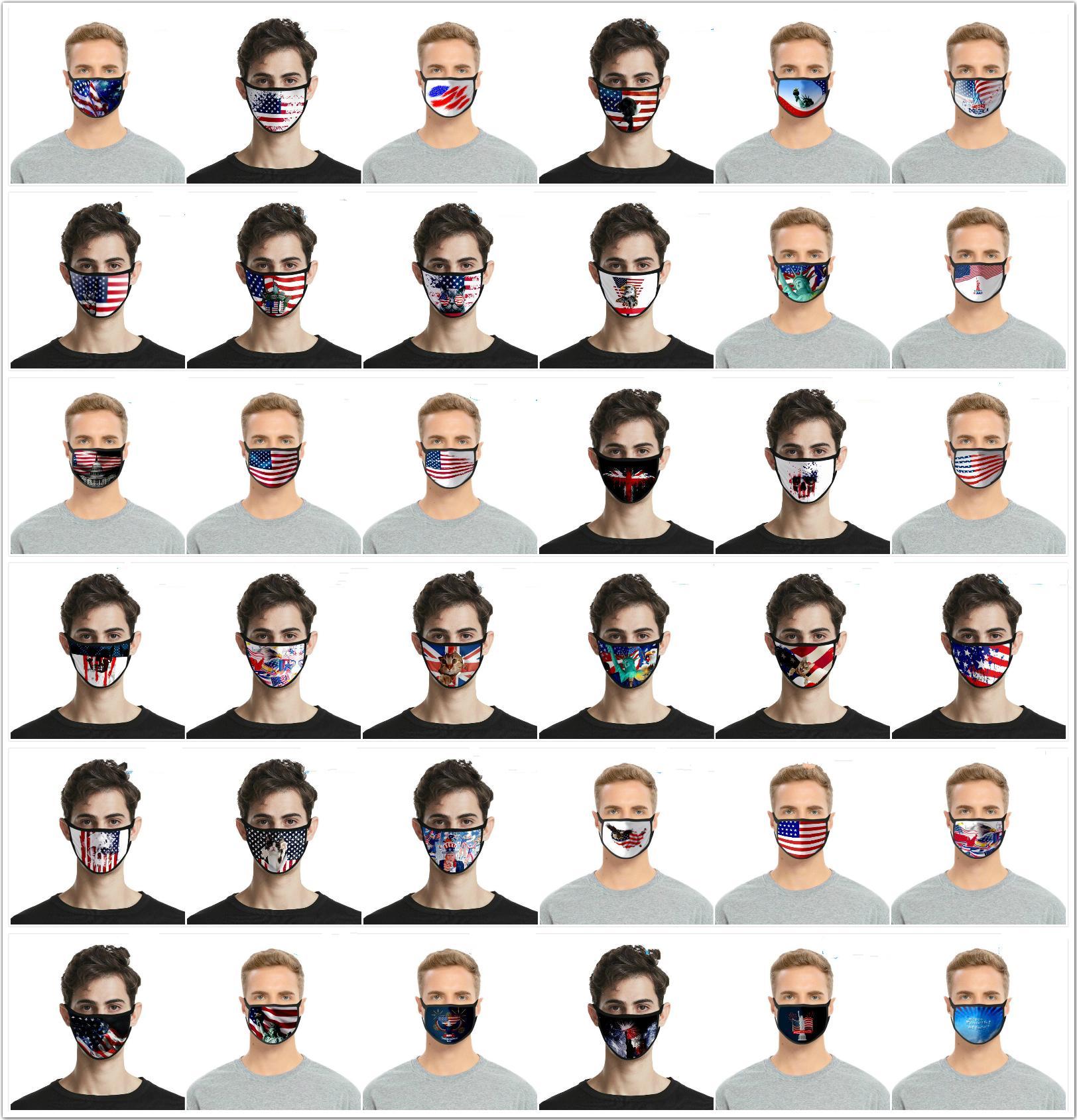 2020 العلم الأميركي قناع الوجه للأطفال الكبار الحجم الأمريكية يوم الاستقلال الغبار الأزياء الطباعة الثلج الحرير قناع الوجه قناع قابل للغسل