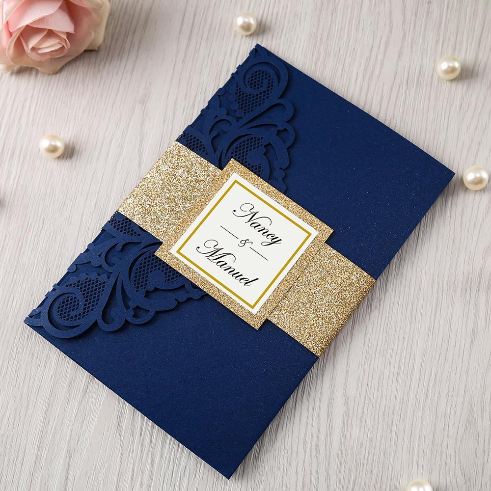 100pcs nouvelles cartes de mariage personnalisé bleu marine Bourgogne Laser Cut Floral Cartes d'invitation