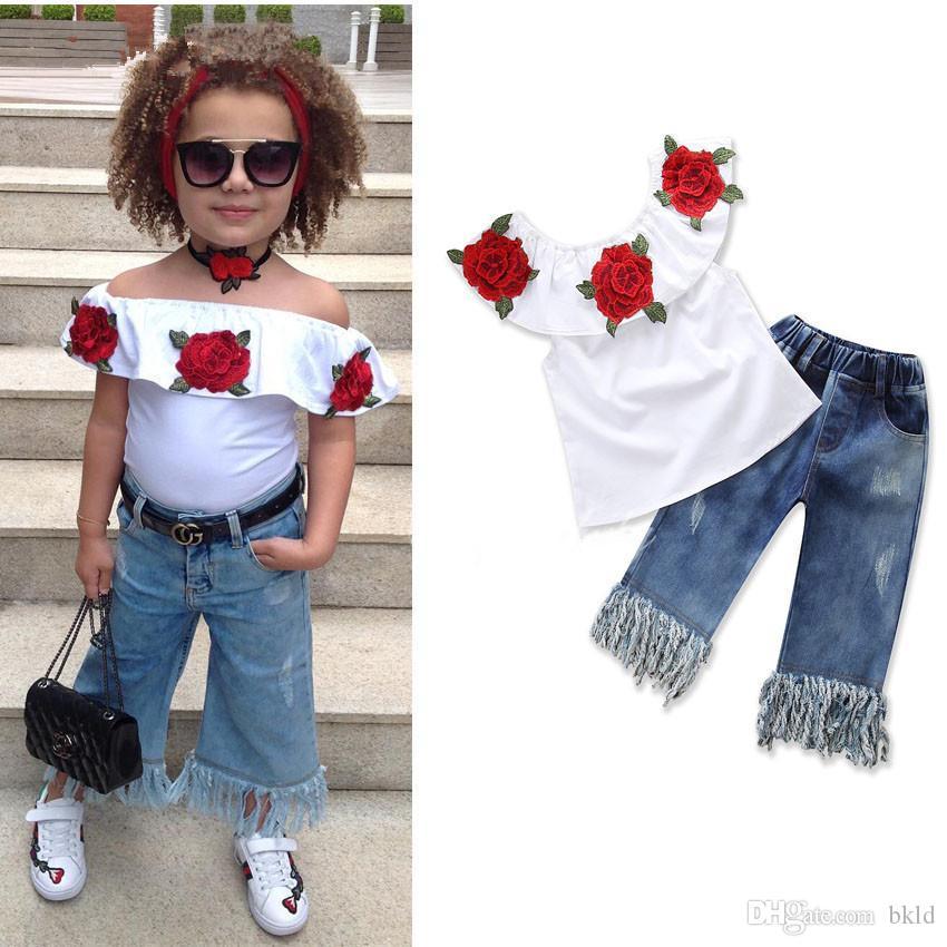 Yaz Bebek Çocuk Kız Giyim Çiçek İşlemeli Kolsuz fırfır Tişörtler Püskül Denim Pantolon İki adet Kızlar Kıyafetleri ayarlar