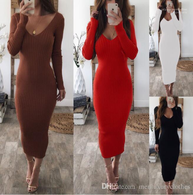 Çizgili Elbiseler Giyim Çift V Kadınlar Seksi Bodycon Uzun Elbise Sonbahar Kış Örme Uzun Kollu