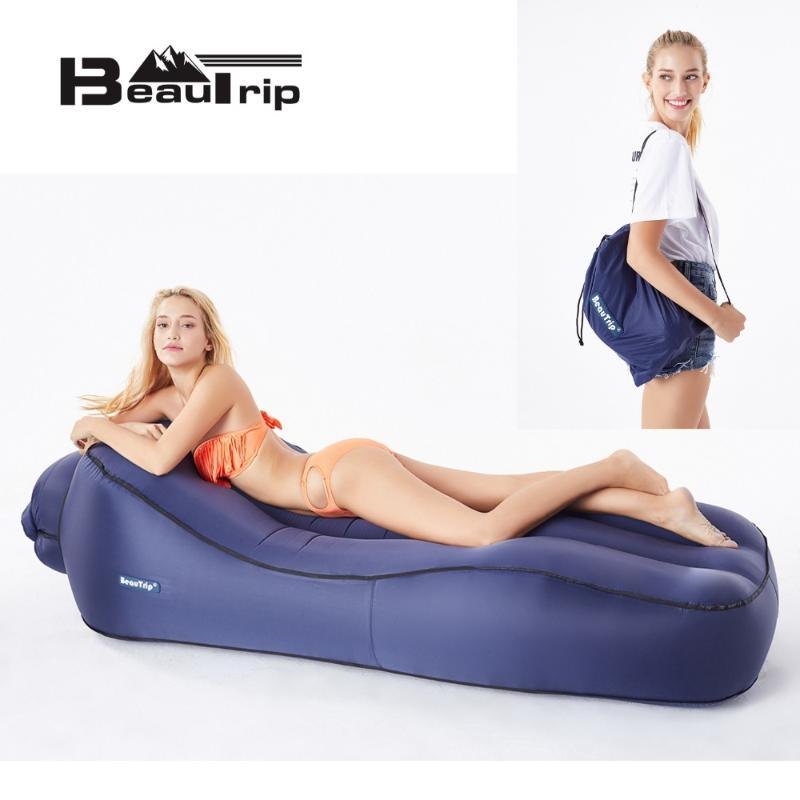 BEAUTRIP Inflatable Lounger Air Hammock Sleeping Bag Airbag Outdoor Camping Mattress Airbed Beach Chair Lazy Bag Bed Pool Float