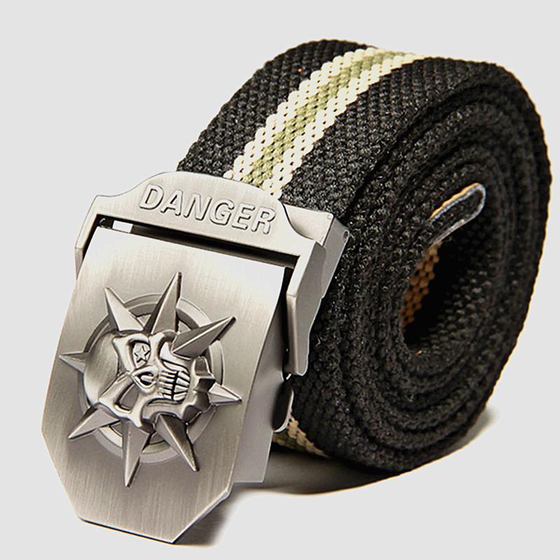 Schädel automatische Schnalle Gürtel lässig flechten Denim militärischen Uniform Gürtel unisex Outdoor-Bekleidung