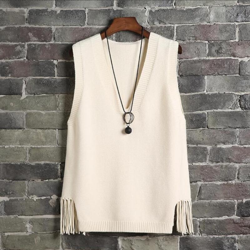 # 1201 2020 Casual scollo a V maglia Vest maniche donna breve del panciotto della maglia femminile nappe casual canotte Pullover Plus Size T200409