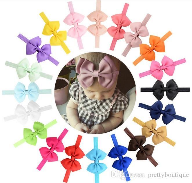 3,5 pollici a mano del nastro del Grosgrain Bow fascia di bowknot per bambine fasce fasce dei capelli legami dei capelli accessori A115