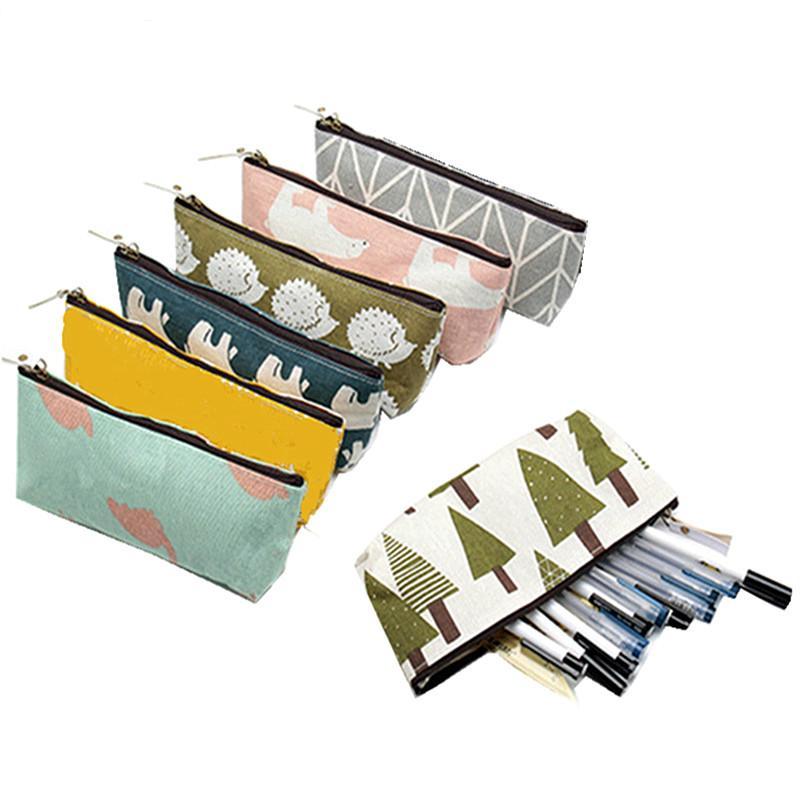 Bolsas baratas Kawaii Animales Breve estilo de cuadrícula Las rayas del lápiz caja de bolsas de papel pluma lápiz de la escuela de almacenamiento caja de regalo de los efectos de Suministro