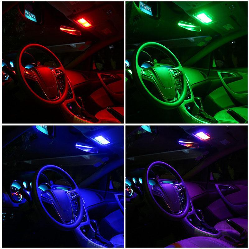 12V LED Car Dome Light Sound Control Reading Lamp RGB Interior Styling luzes da decoração VS998