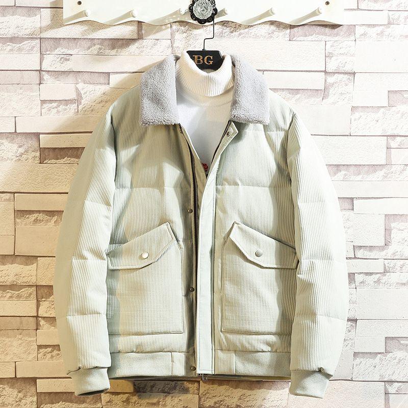Branco de 2019 Inverno New Men Duck Down Jacket com capuz de Down britânica curto magro casaco quente casaco de algodão