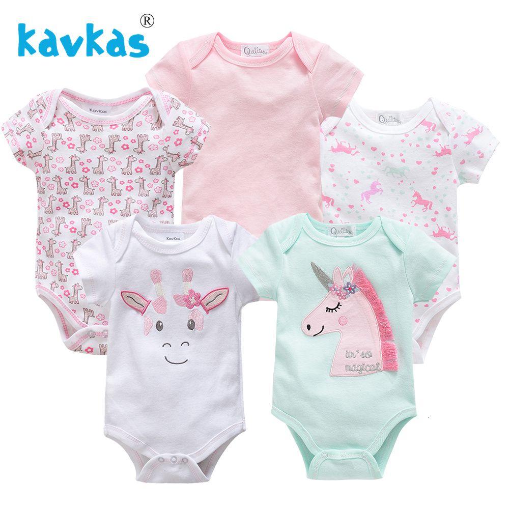 Kavkas 5Pcs Newborn Baby Girl Jumpsuits Infant Boy Romper Cute Cartoon Outfits Clothes 100% Cotton Short Sleeve Jumpsuits SetMX190912