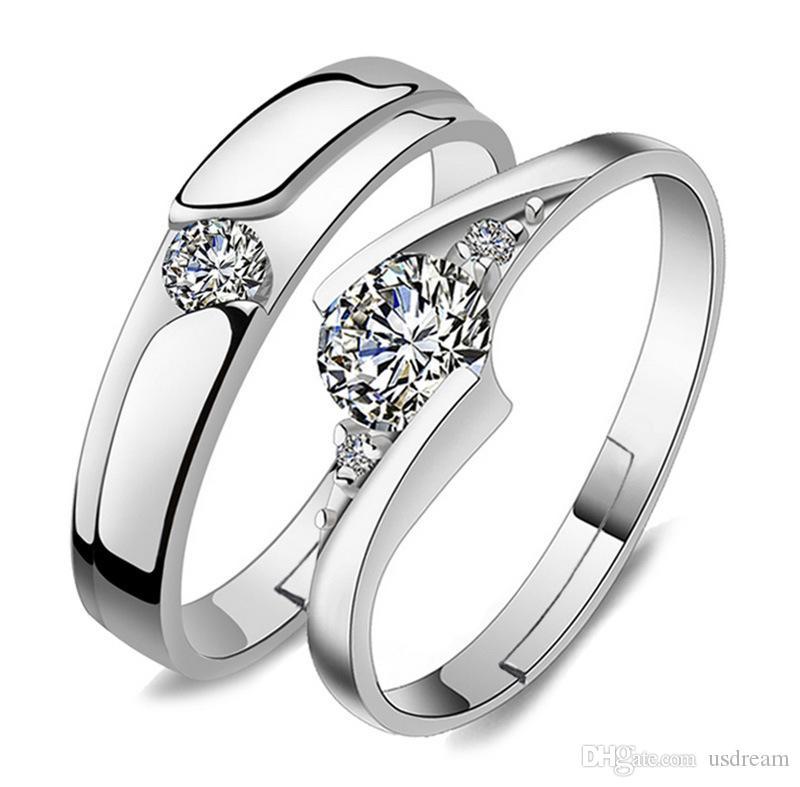 مفتوح قابل للتعديل خاتم فضة الماس خاتم زركون زوجين خواتم الخطبة الزفاف للنساء الرجال الأزياء والمجوهرات ويل وهدية الرملية