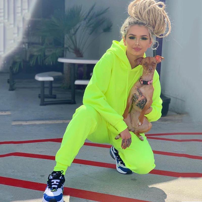 BKLD cor Pure esporte hoodie do terno manga longa com capuz roupa 2 Piece Set Desportivo Casual Suit Mulheres Blue Treino Set Top e calças Y200608