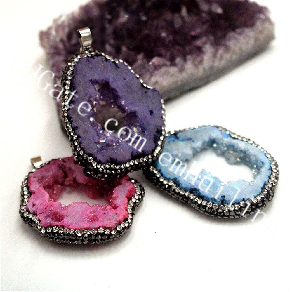 10 Pcs Tamanho Aleatório Irregular Tingido Cor Azul Vermelho Roxo Druzy Drusy Ágata Geode Pingente Com Pavimentar CZ Diamante De Cristal Zircão Encantos Da Borda