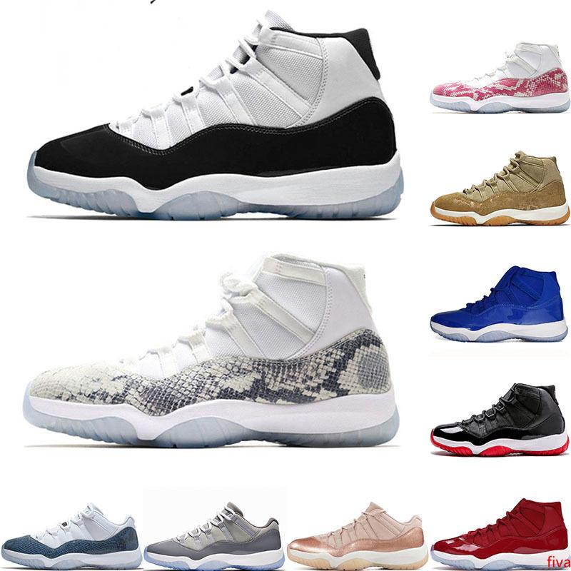 2019 Hot vente de chaussures de basket-ball 11 hommes pour les femmes Concord haut Snakeskin Espace blanc Jam or rose de minuit marine Bred sports de bas