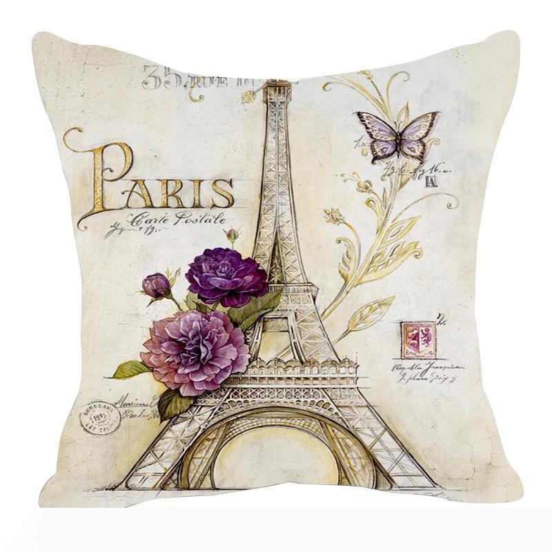 Retro estilo de dibujo de la torre Eiffel de la cintura Funda de almohada almohada cubierta del amortiguador del tiro de la etiqueta de lino Mezcla Meterial