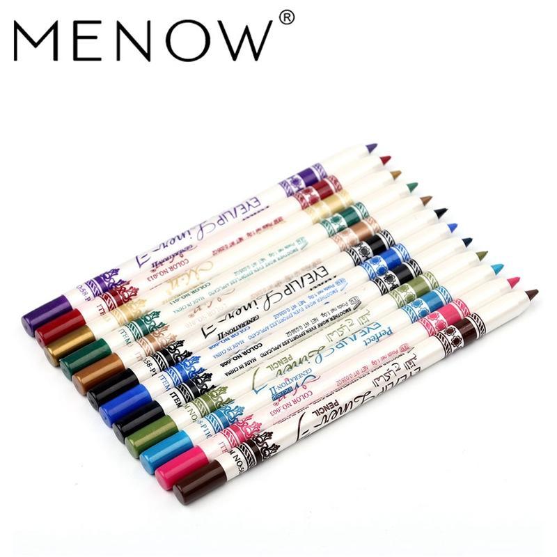 MENOW 12PCS/PACK 2 in 1 Eyeliner 12 Colors Lip Pencil Long-lasting Waterproof Makeup Cosmetic Set Eye Liner Eye Shadow Pen