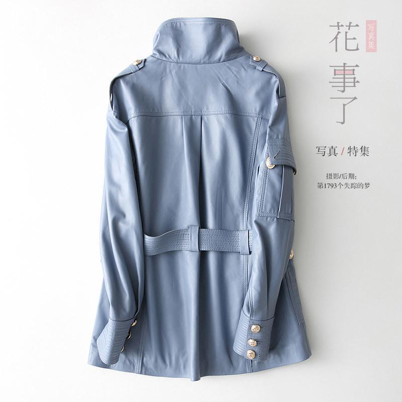 100% chaqueta de cuero genuino mujeres Montone capa de la chaqueta de invierno mujer otoño largo delgado Outwear la ropa 3493 piel de oveja Real
