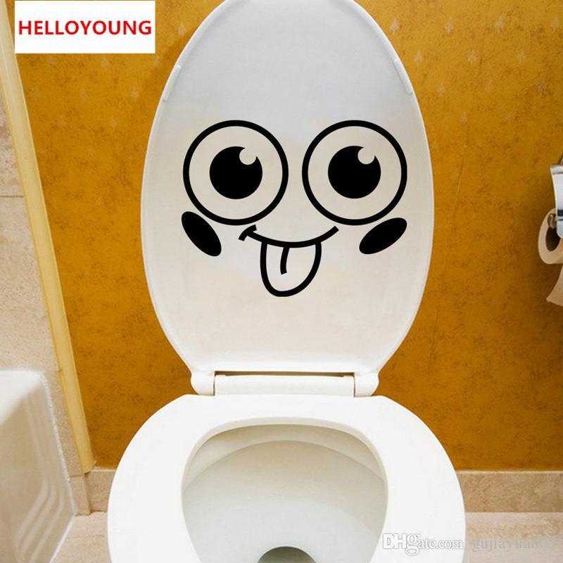 Cartoon Smile Toilet Stickers All-match Style Art Mural Waterproof For toilet Home Decor Backdrop Removable